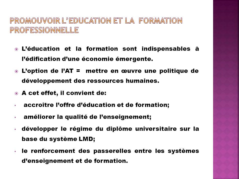 Léducation et la formation sont indispensables à lédification dune économie émergente. Loption de lAT = mettre en œuvre une politique de développement