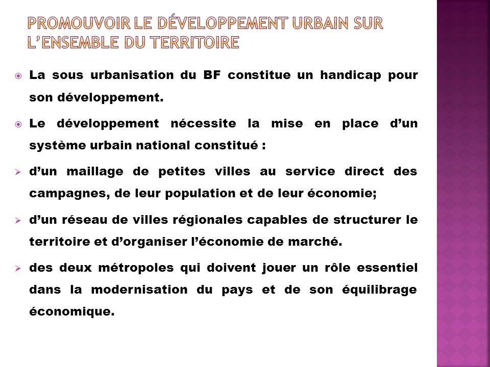 La sous urbanisation du BF constitue un handicap pour son développement. Le développement nécessite la mise en place dun système urbain national const