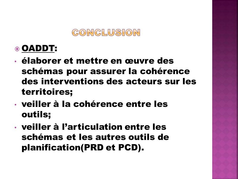 OADDT: élaborer et mettre en œuvre des schémas pour assurer la cohérence des interventions des acteurs sur les territoires; veiller à la cohérence entre les outils; veiller à larticulation entre les schémas et les autres outils de planification(PRD et PCD).