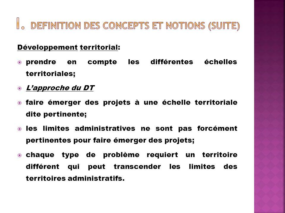Développement territorial: prendre en compte les différentes échelles territoriales; Lapproche du DT faire émerger des projets à une échelle territori