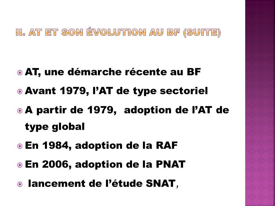AT, une démarche récente au BF Avant 1979, lAT de type sectoriel A partir de 1979, adoption de lAT de type global En 1984, adoption de la RAF En 2006,
