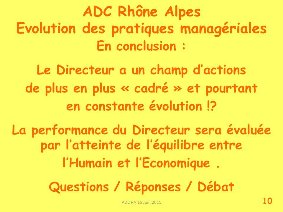 ADC Rhône Alpes Evolution des pratiques managériales En conclusion : Le Directeur a un champ dactions de plus en plus « cadré » et pourtant en constante évolution !.