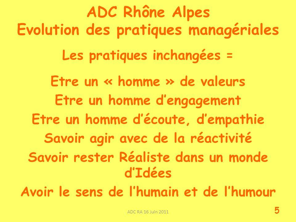 ADC Rhône Alpes Evolution des pratiques managériales Les pratiques inchangées = Etre un « homme » de valeurs Etre un homme dengagement Etre un homme d