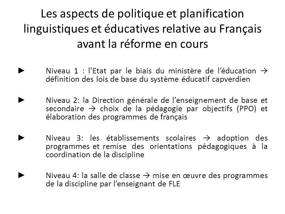 Niveau 1 : lEtat par le biais du ministère de léducation définition des lois de base du système éducatif capverdien Niveau 2: la Direction générale de