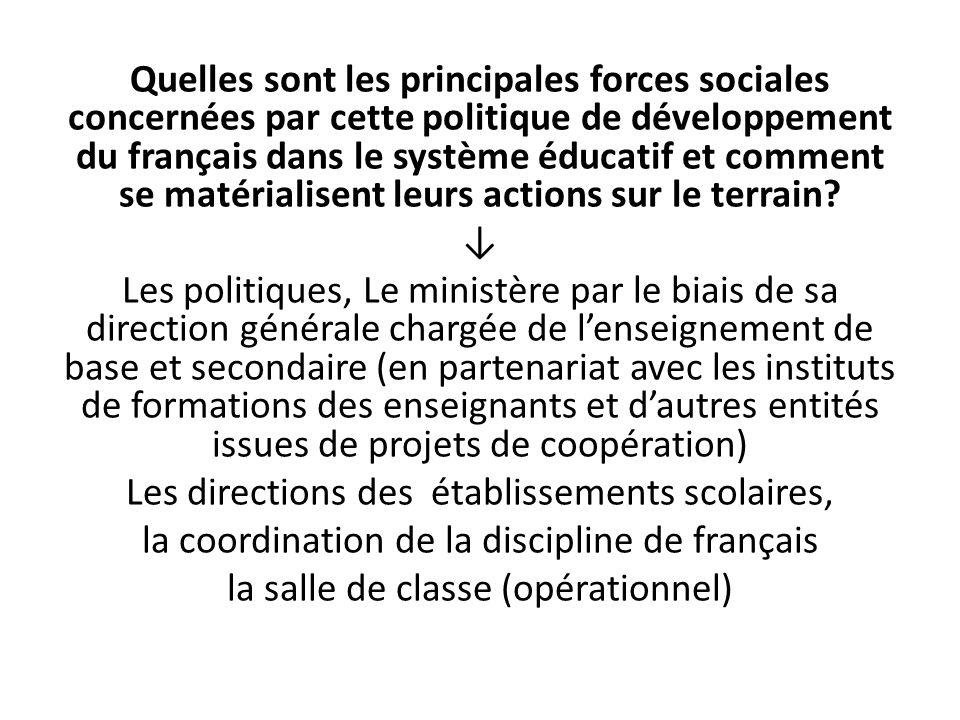 Quelles sont les principales forces sociales concernées par cette politique de développement du français dans le système éducatif et comment se matéri
