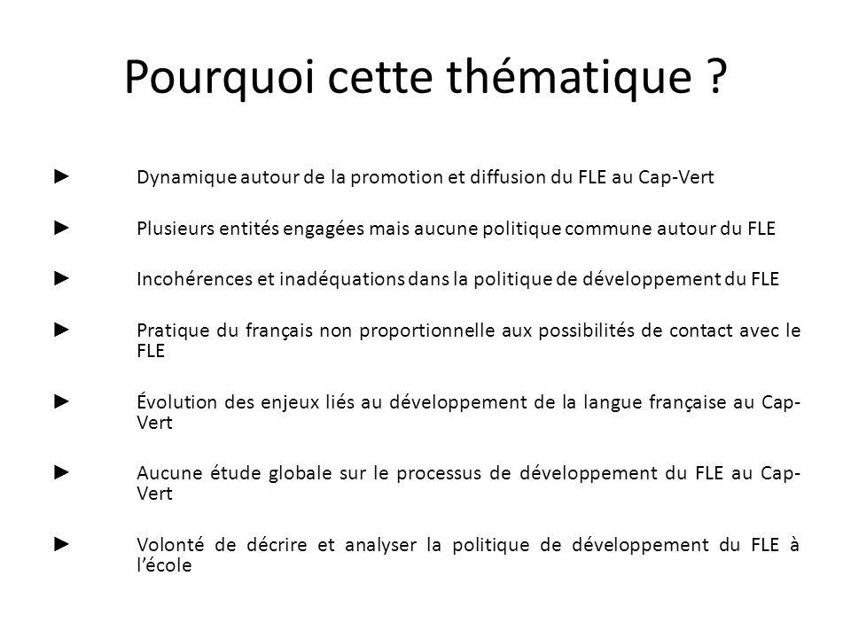 Pourquoi cette thématique ? Dynamique autour de la promotion et diffusion du FLE au Cap-Vert Plusieurs entités engagées mais aucune politique commune