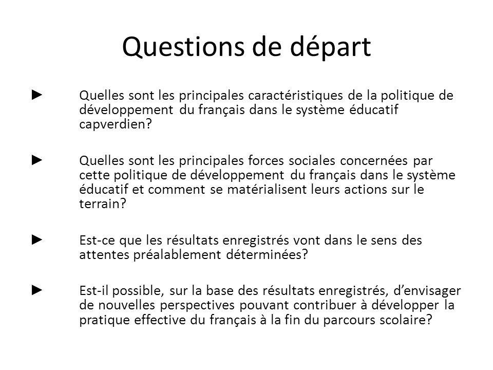 Questions de départ Quelles sont les principales caractéristiques de la politique de développement du français dans le système éducatif capverdien? Qu