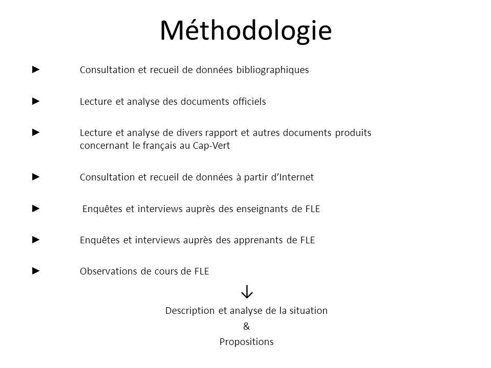Méthodologie Consultation et recueil de données bibliographiques Lecture et analyse des documents officiels Lecture et analyse de divers rapport et au