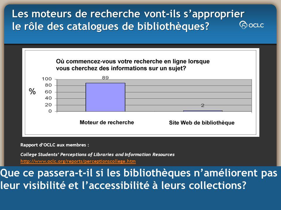 Les moteurs de recherche vont-ils sapproprier le rôle des catalogues de bibliothèques? Rapport dOCLC aux membres : College Students Perceptions of Lib