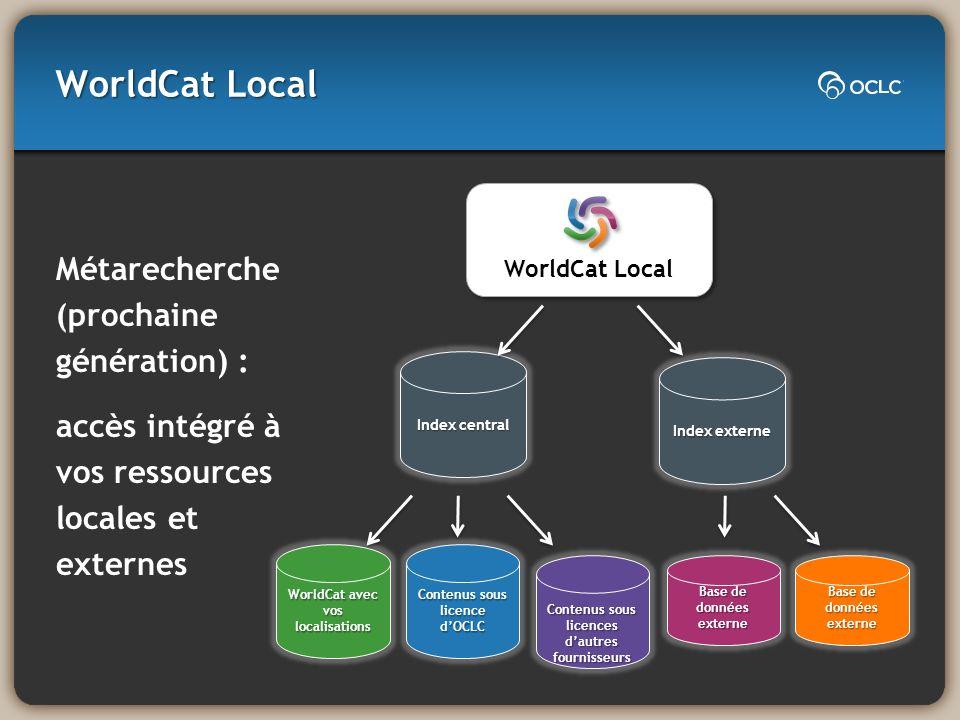 WorldCat Local Métarecherche (prochaine génération) : accès intégré à vos ressources locales et externes WorldCat Local Index central Index externe Wo