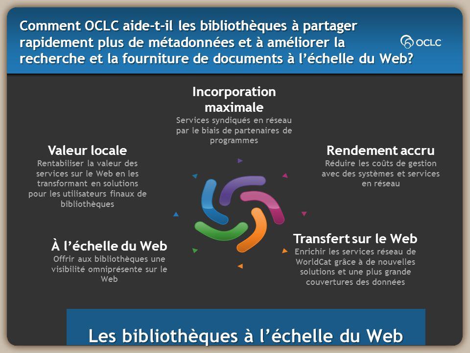 Les bibliothèques à léchelle du Web À léchelle du Web Offrir aux bibliothèques une visibilité omniprésente sur le Web Incorporation maximale Services
