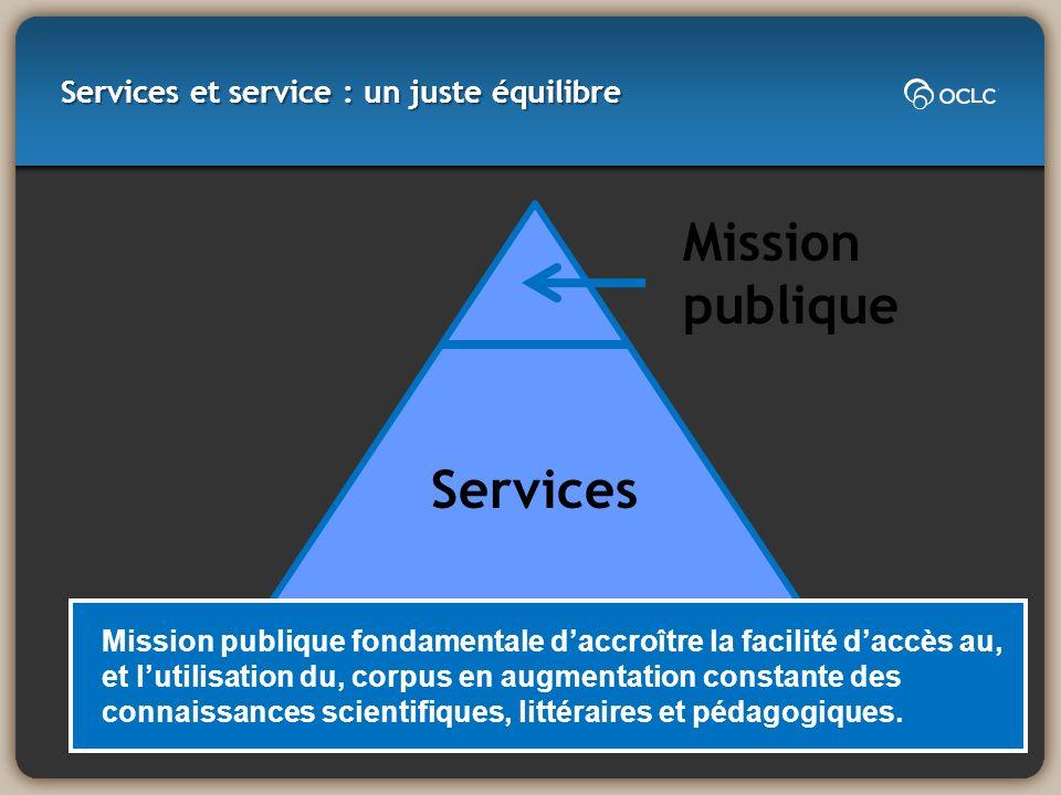 Services et service : un juste équilibre Mission publique fondamentale daccroître la facilité daccès au, et lutilisation du, corpus en augmentation co