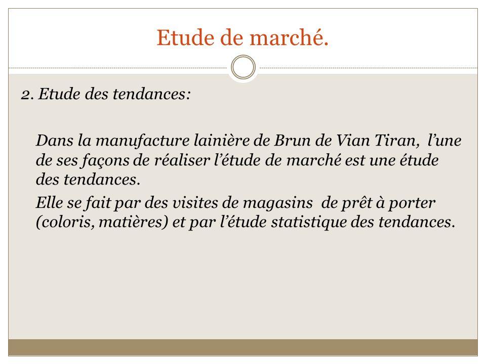 Etude de marché. 2. Etude des tendances: Dans la manufacture lainière de Brun de Vian Tiran, lune de ses façons de réaliser létude de marché est une é