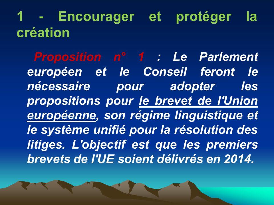 1 - Encourager et protéger la création Proposition n° 1 : Le Parlement européen et le Conseil feront le nécessaire pour adopter les propositions pour