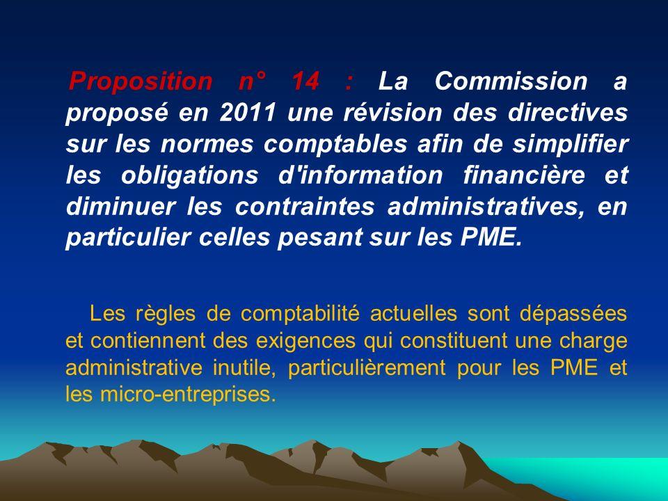 Proposition n° 14 : La Commission a proposé en 2011 une révision des directives sur les normes comptables afin de simplifier les obligations d'informa