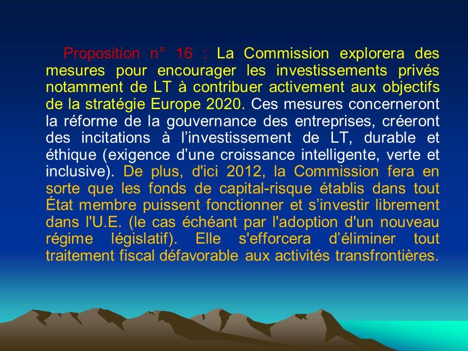 Proposition n° 16 : La Commission explorera des mesures pour encourager les investissements privés notamment de LT à contribuer activement aux objecti
