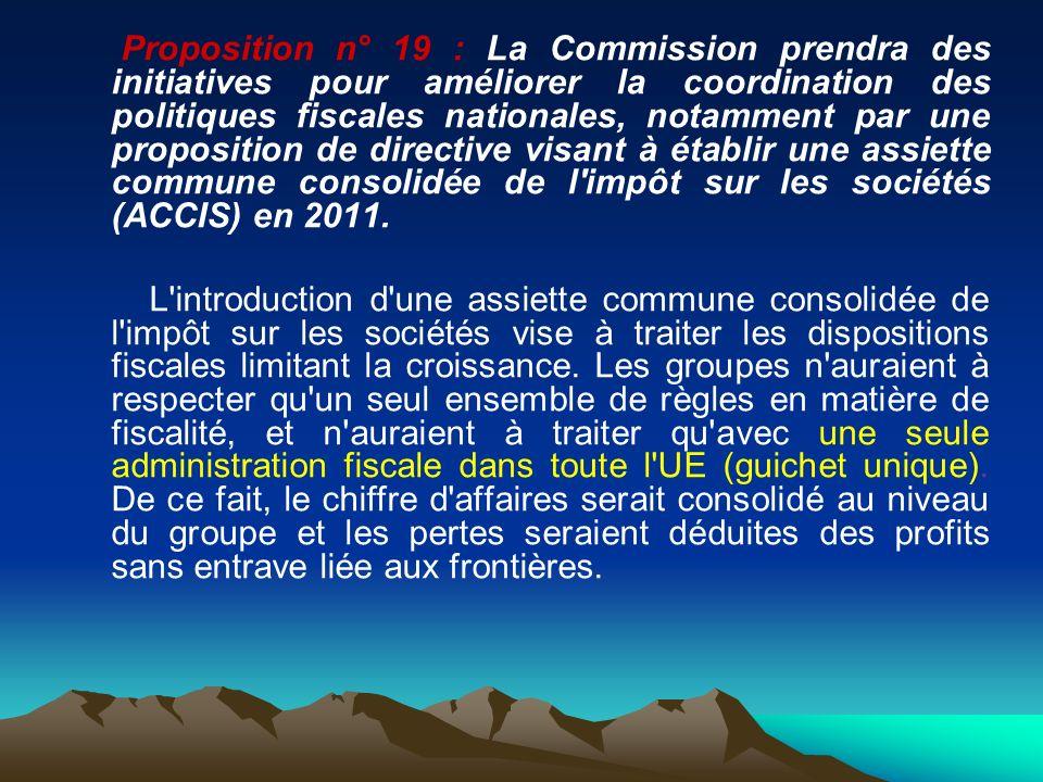 Proposition n° 19 : La Commission prendra des initiatives pour améliorer la coordination des politiques fiscales nationales, notamment par une proposi