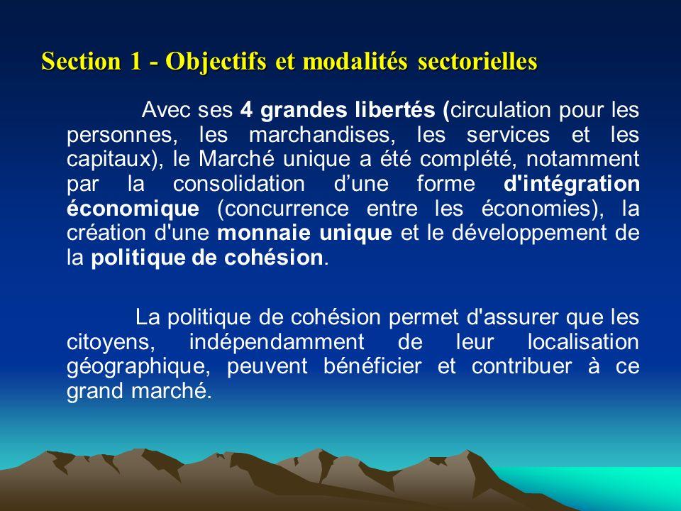 Section 1 - Objectifs et modalités sectorielles Avec ses 4 grandes libertés (circulation pour les personnes, les marchandises, les services et les cap