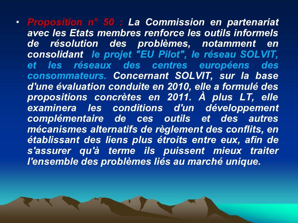 Proposition n° 50 : La Commission en partenariat avec les Etats membres renforce les outils informels de résolution des problèmes, notamment en consol