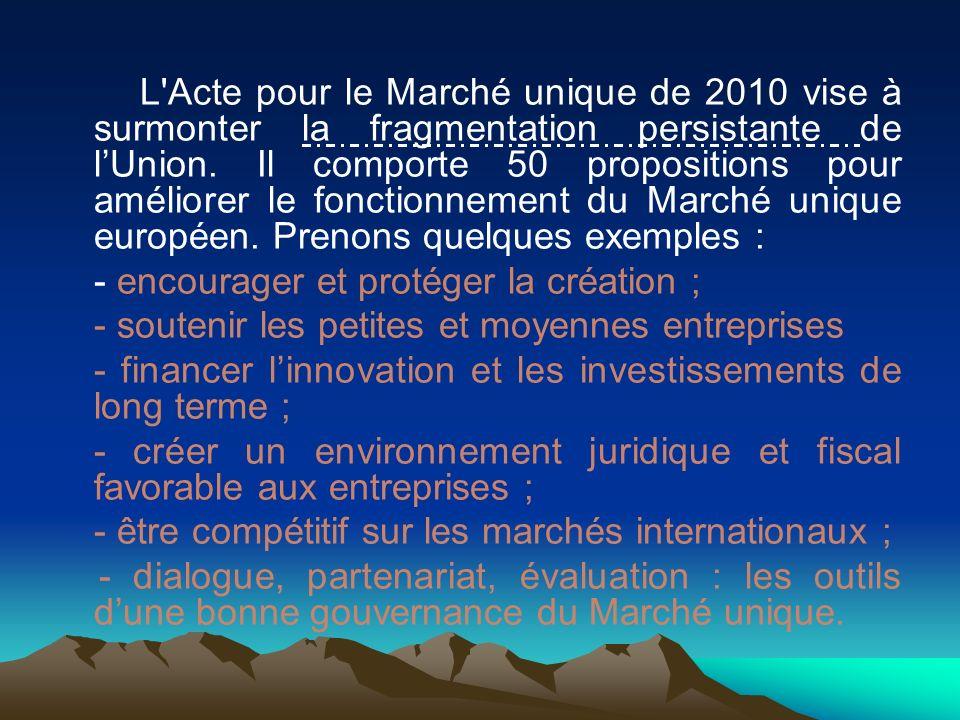L'Acte pour le Marché unique de 2010 vise à surmonter la fragmentation persistante de lUnion. Il comporte 50 propositions pour améliorer le fonctionne
