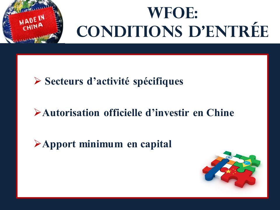 WFOE: conditions dentrée Secteurs dactivité spécifiques Autorisation officielle dinvestir en Chine Apport minimum en capital