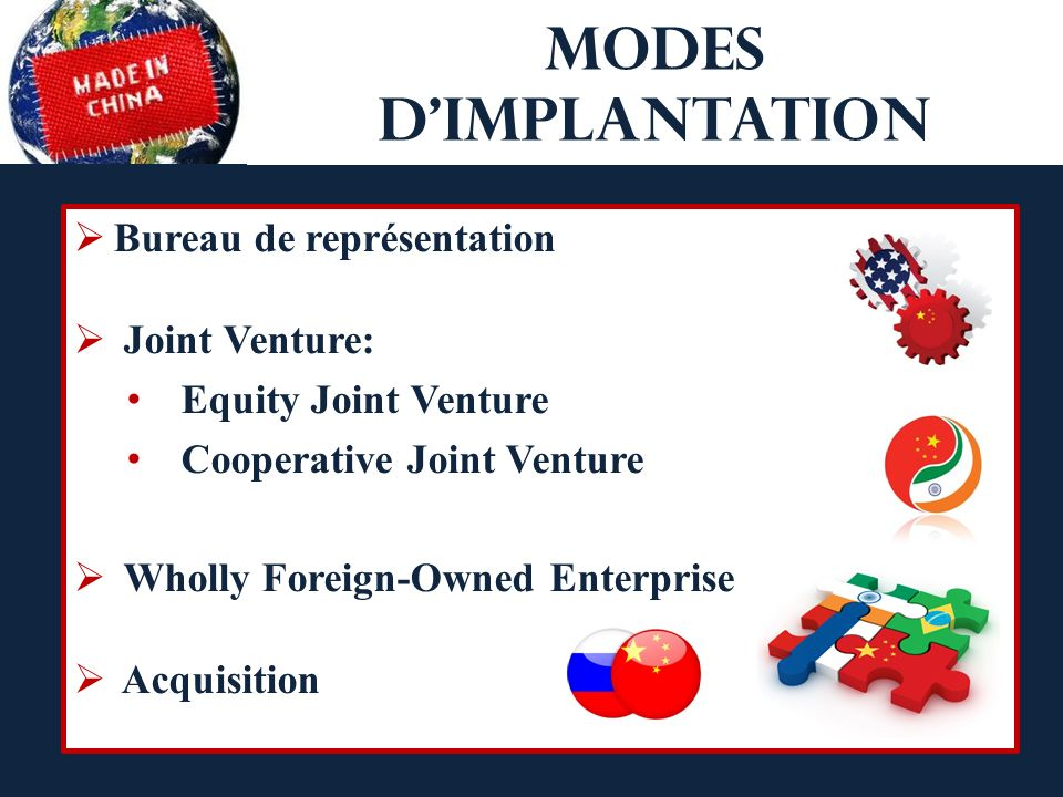 Modes dimplantation Bureau de représentation Joint Venture: Equity Joint Venture Cooperative Joint Venture Wholly Foreign-Owned Enterprise Acquisition