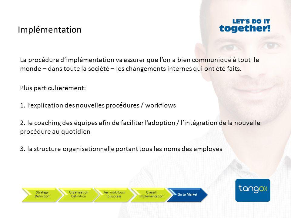Implémentation Strategy Definition Organisation Definition Key workflows to success Overall implementation Go to Market La procédure dimplémentation va assurer que lon a bien communiqué à tout le monde – dans toute la société – les changements internes qui ont été faits.