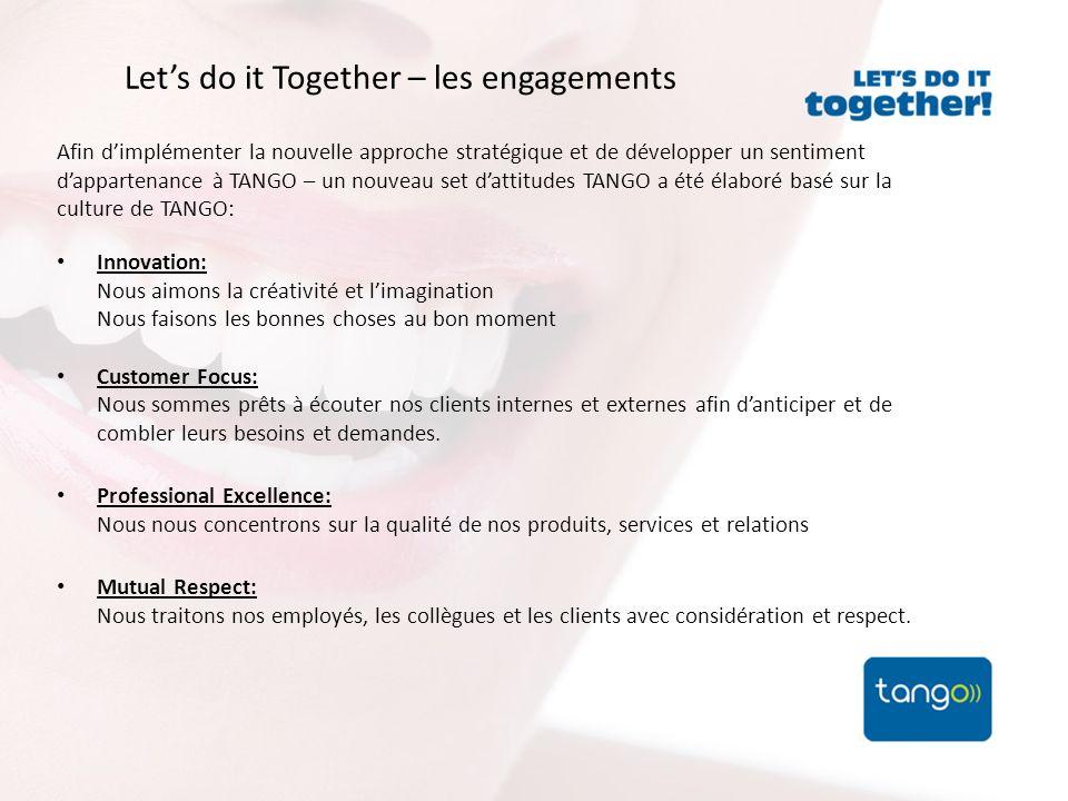 Lets do it Together – les engagements Afin dimplémenter la nouvelle approche stratégique et de développer un sentiment dappartenance à TANGO – un nouv