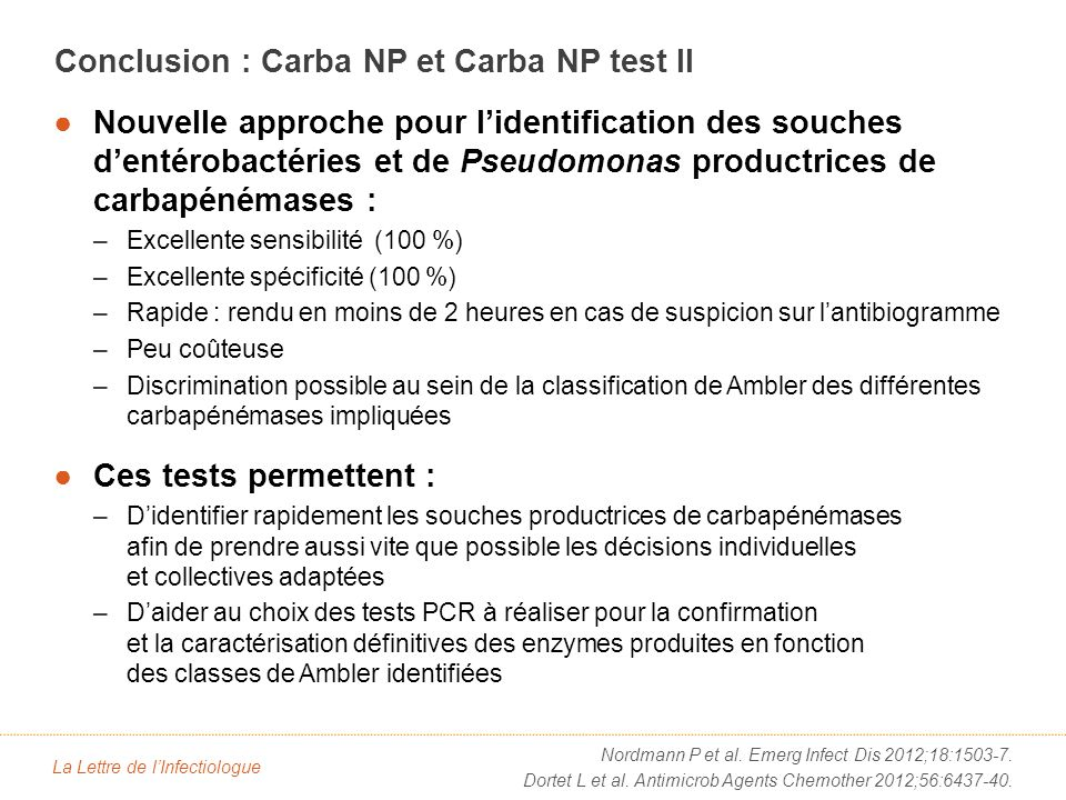 Nouvelle approche pour lidentification des souches dentérobactéries et de Pseudomonas productrices de carbapénémases : –Excellente sensibilité (100 %)