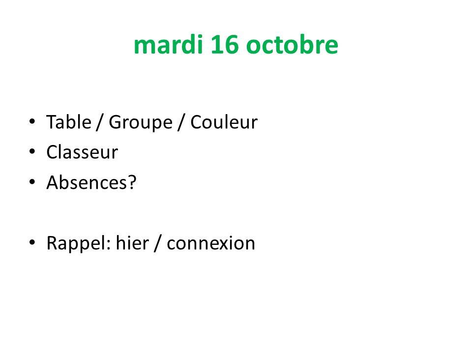 mardi 16 octobre Table / Groupe / Couleur Classeur Absences? Rappel: hier / connexion