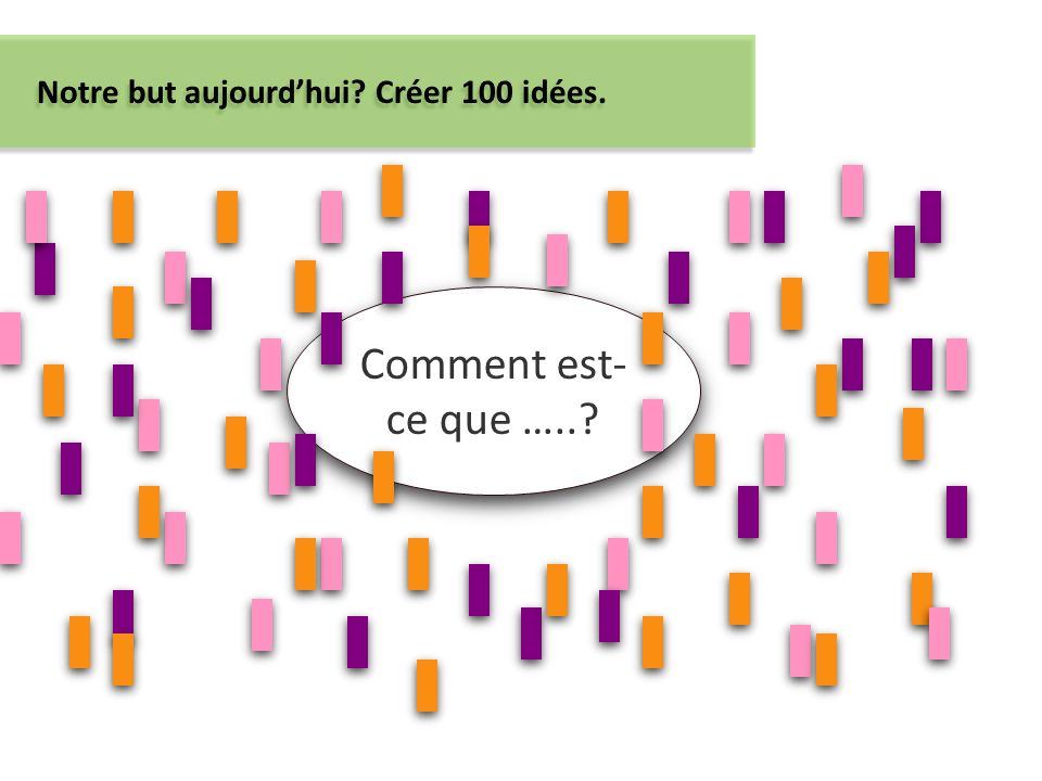 Comment est- ce que …..? Notre but aujourdhui? Créer 100 idées.