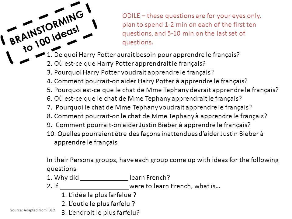 BRAINSTORMING to 100 ideas! 1.De quoi Harry Potter aurait besoin pour apprendre le français? 2.Où est-ce que Harry Potter apprendrait le français? 3.P