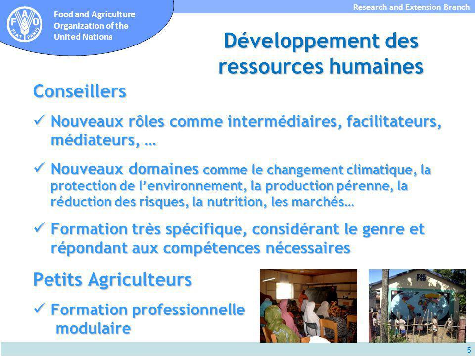 16 Research and Extension Branch Food and Agriculture Organization of the United Nations Mécanismes Financiers Innovatrices Soutien financier non seulement aux services dappui conseil (offre), mais aussi aux OP (demande) Soutien financier non seulement aux services dappui conseil (offre), mais aussi aux OP (demande) Fonds dinnovation directement aux OP (ex.