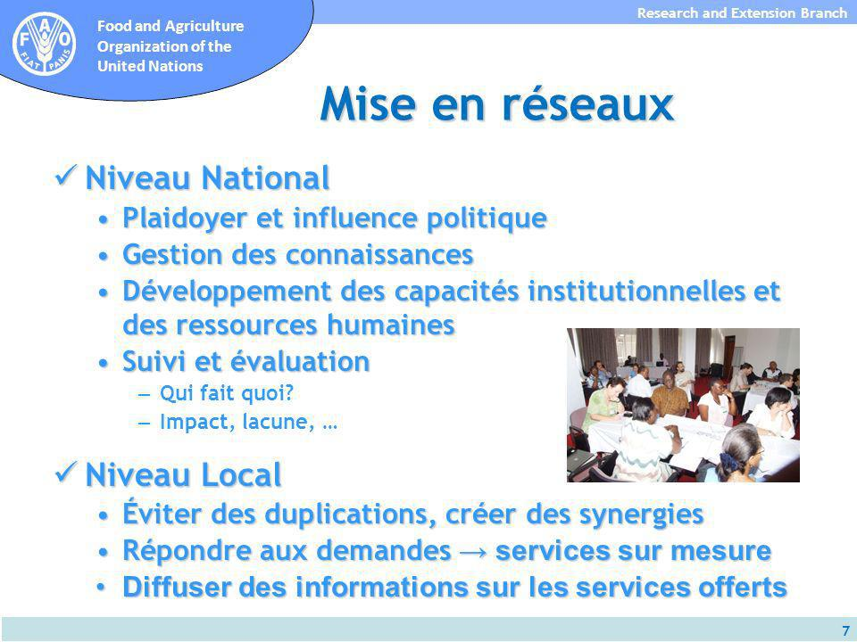 7 Research and Extension Branch Food and Agriculture Organization of the United Nations Mise en réseaux Niveau National Niveau National Plaidoyer et i
