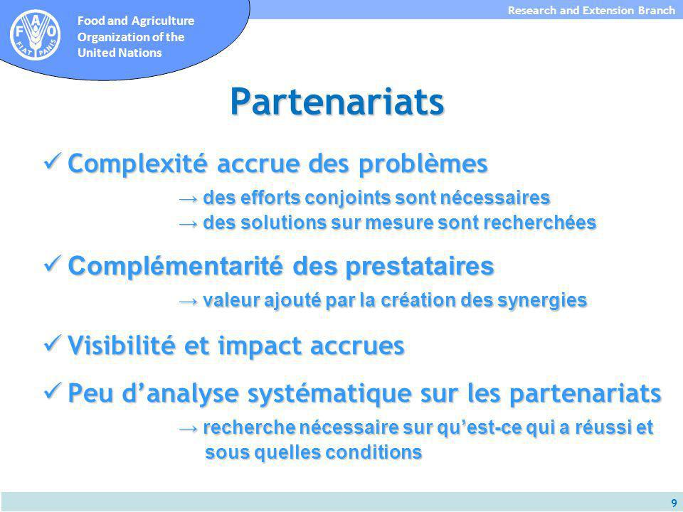 10 Research and Extension Branch Food and Agriculture Organization of the United Nations Transparence Comment les petits agriculteurs et agricultrices peuvent savoir quelles services sont disponibles.