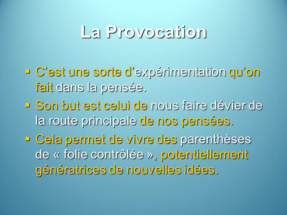 La Provocation Cest une sorte dexpérimentation quon fait dans la pensée.