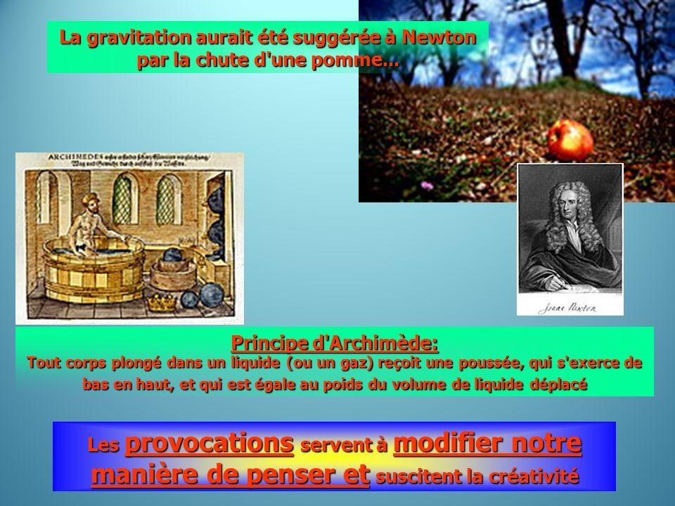 Les provocations servent à modifier notre manière de penser et suscitent la créativité Principe d'Archimède: Tout corps plongé dans un liquide (ou un