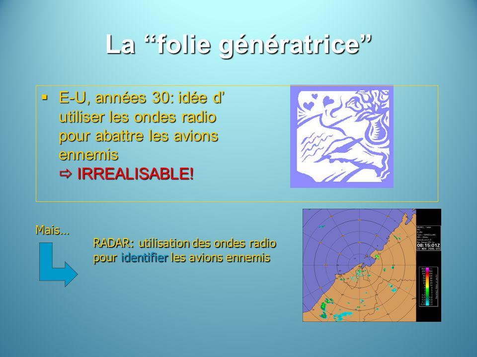 La folie génératrice E-U, années 30: idée d utiliser les ondes radio pour abattre les avions ennemis IRREALISABLE! E-U, années 30: idée d utiliser les