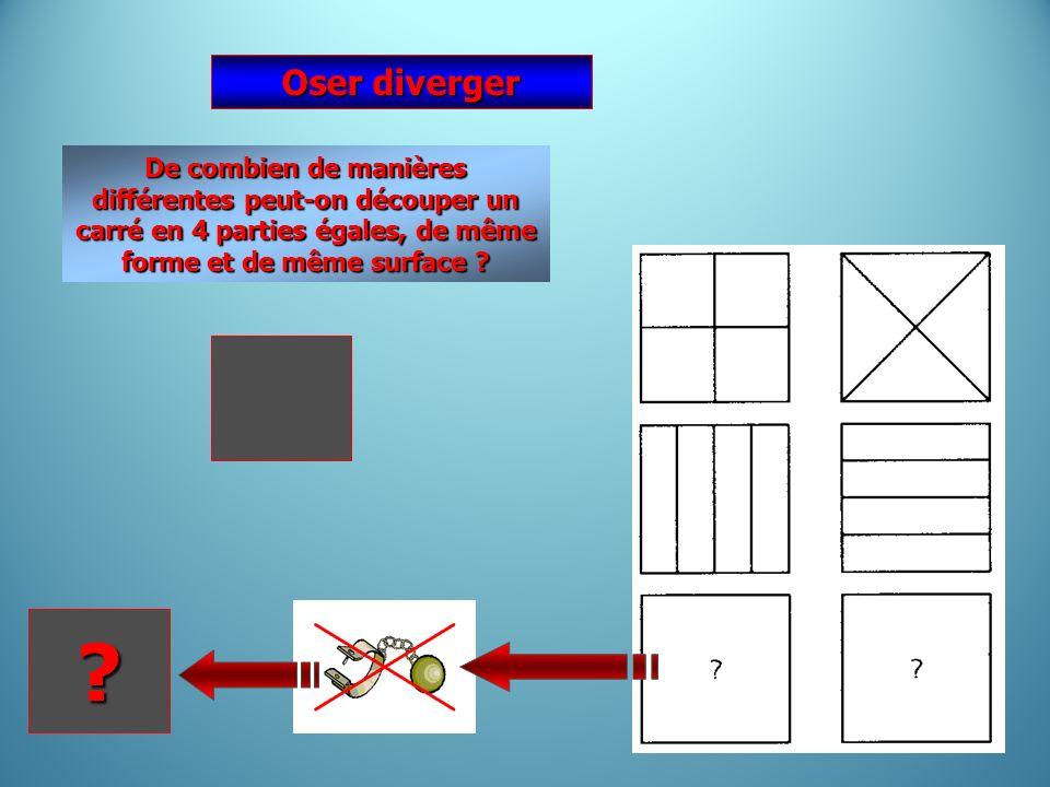 De combien de manières différentes peut-on découper un carré en 4 parties égales, de même forme et de même surface ? Oser diverger ?