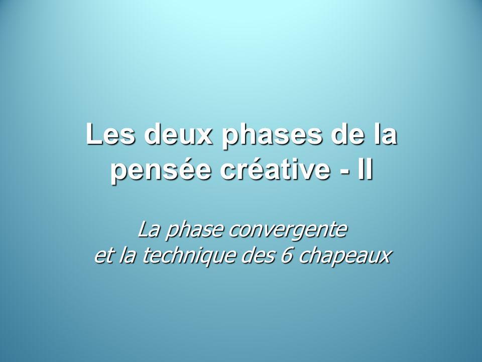 Les deux phases de la pensée créative - II La phase convergente et la technique des 6 chapeaux
