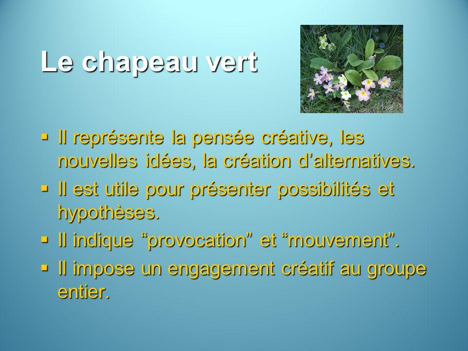 Le chapeau vert Il représente la pensée créative, les nouvelles idées, la création dalternatives. Il représente la pensée créative, les nouvelles idée