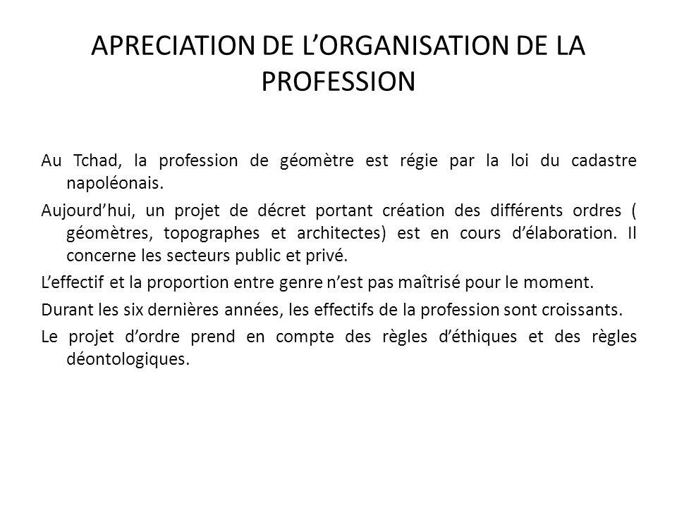 APRECIATION DE LORGANISATION DE LA PROFESSION Au Tchad, la profession de géomètre est régie par la loi du cadastre napoléonais. Aujourdhui, un projet