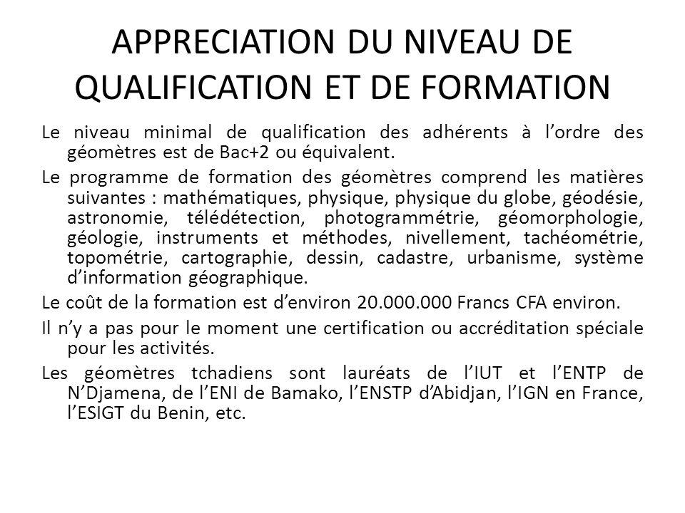 APPRECIATION DU NIVEAU DE QUALIFICATION ET DE FORMATION Le niveau minimal de qualification des adhérents à lordre des géomètres est de Bac+2 ou équiva