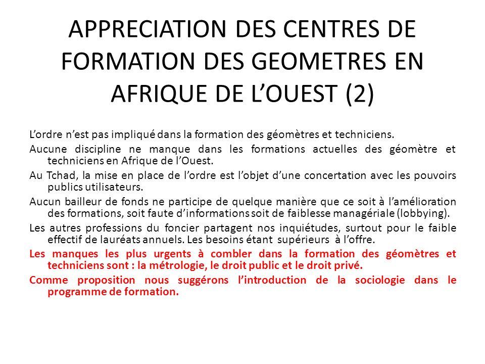 APPRECIATION DES CENTRES DE FORMATION DES GEOMETRES EN AFRIQUE DE LOUEST (2) Lordre nest pas impliqué dans la formation des géomètres et techniciens.