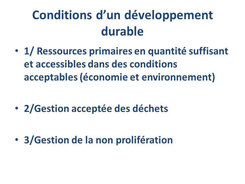 Conditions dun développement durable 1/ Ressources primaires en quantité suffisant et accessibles dans des conditions acceptables (économie et environ
