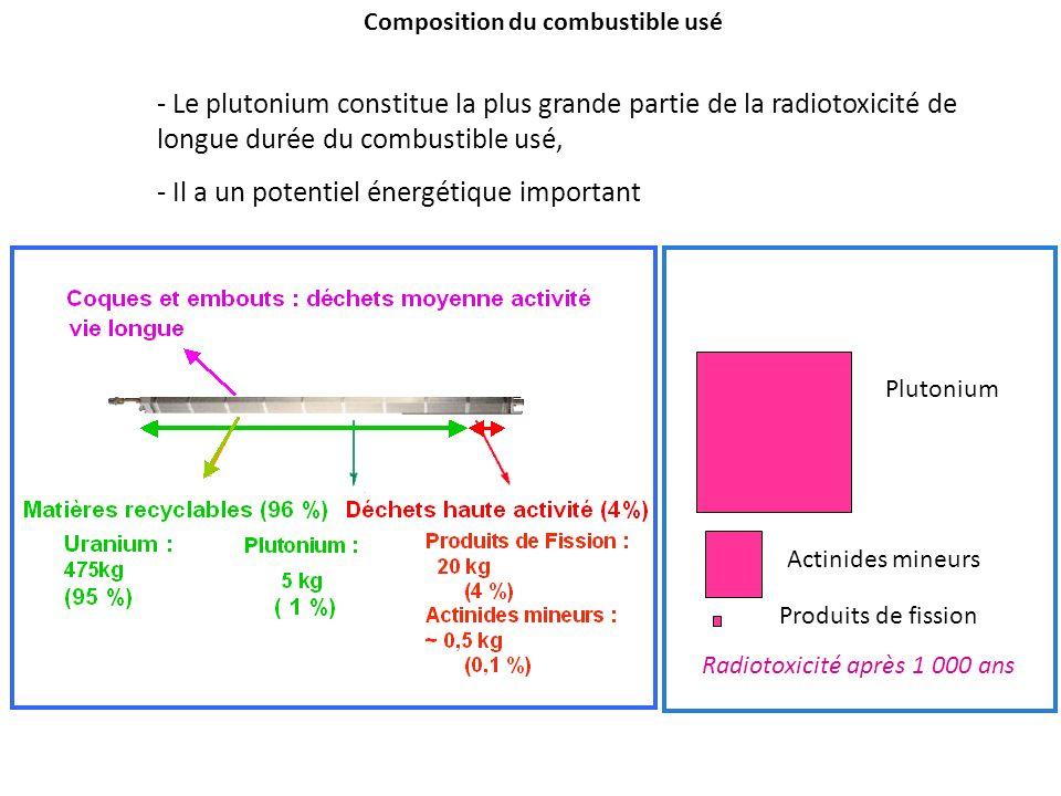 Radiotoxicité après 1 000 ans Produits de fission Actinides mineurs Plutonium Composition du combustible usé - Le plutonium constitue la plus grande p