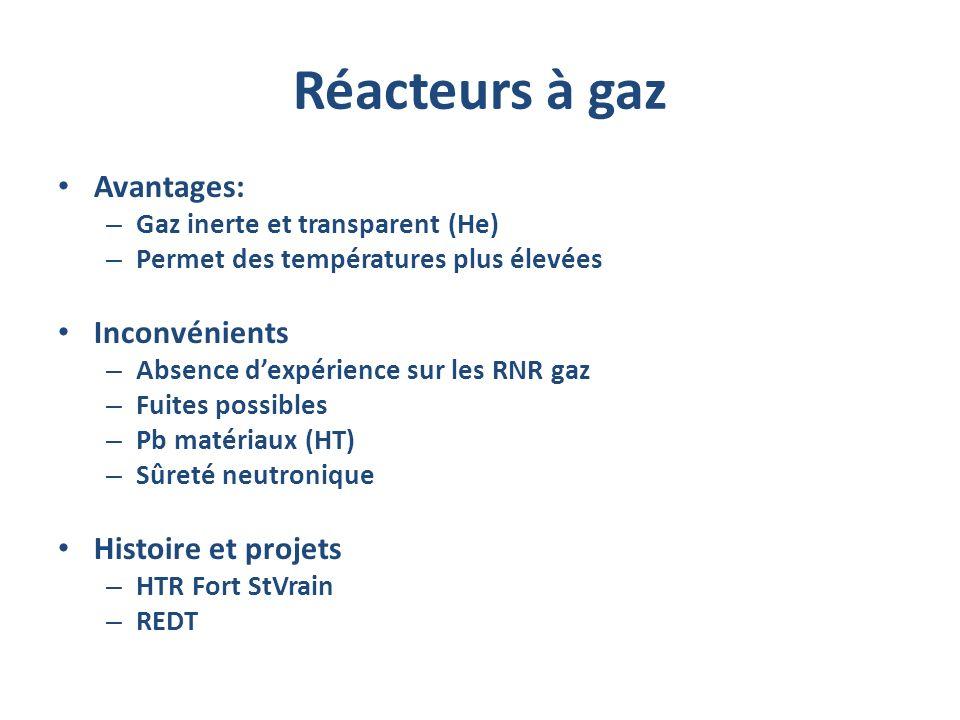 Réacteurs à gaz Avantages: – Gaz inerte et transparent (He) – Permet des températures plus élevées Inconvénients – Absence dexpérience sur les RNR gaz