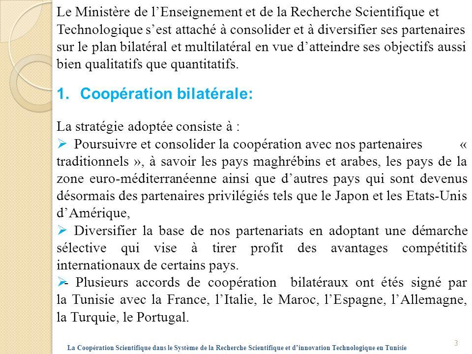 2.Coopération Multilatérale : La stratégie adoptée consiste principalement à œuvrer en faveur de lintégration de la communauté scientifique tunisienne dans des actions de coopération régionale et internationale notamment avec lUnion Européenne et lespace euro-méditerranéen.