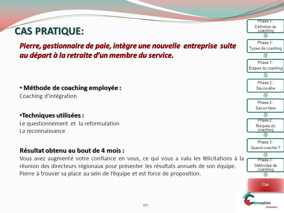 CAS PRATIQUE: 20 Méthode de coaching employée : Méthode de coaching employée : Coaching dintégration Techniques utilisées : Techniques utilisées : Le