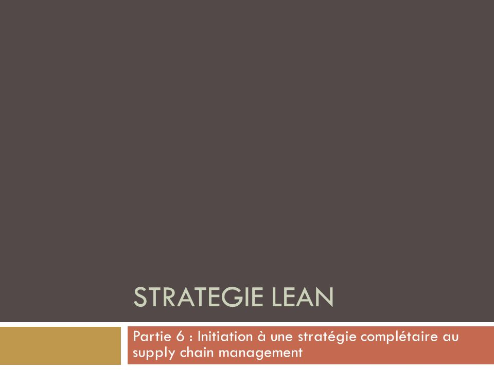 STRATEGIE LEAN Partie 6 : Initiation à une stratégie complétaire au supply chain management